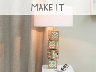 diy cr er une lampe avec des cubes de bois leroy merlin. Black Bedroom Furniture Sets. Home Design Ideas