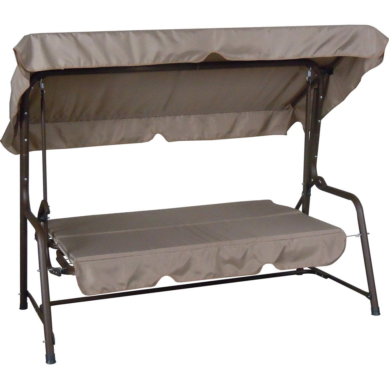Balancelle de jardin en acier d troit taupe et marron - Balancelle convertible en lit de jardin ...