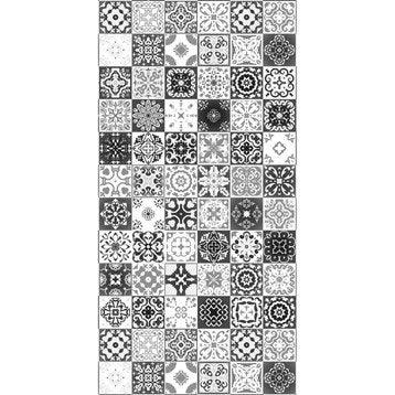 Panneau H.240 cm x l.120 cm, DECO K IN, Carreaux ciment noir brillant