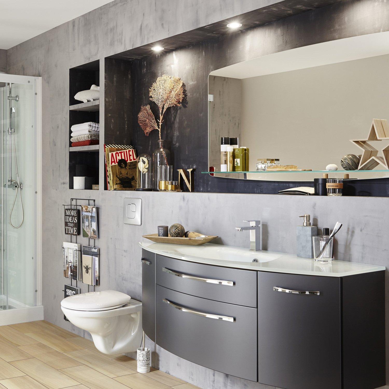 effets b ton et bois dans la salle bains leroy merlin. Black Bedroom Furniture Sets. Home Design Ideas