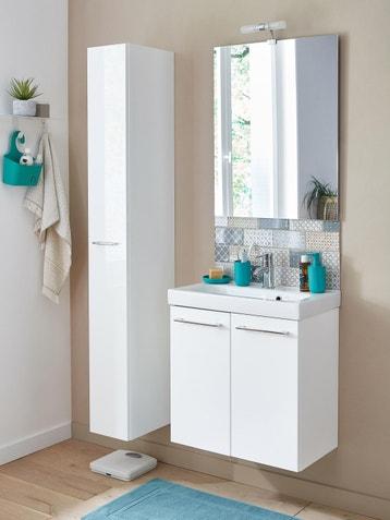 Meuble De Salle Bains Remix L61 Blanc Simple Vasque