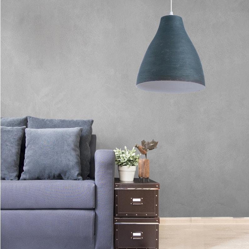Suspension, classique bambou bleu ardoise LUSSIOL Calcuta 1 lumière(s) D.30  cm