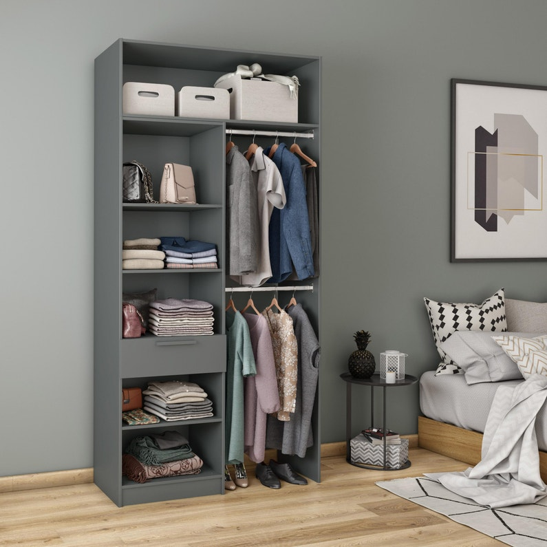 Dressing Spaceo Home Gris H 240 X L 120 X P 45 Cm Leroy Merlin