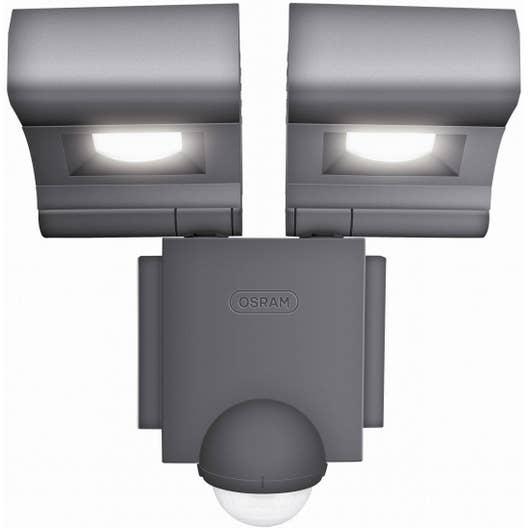 projecteur fixer d tection ext rieur led int gr e 2x8 w 860 lm gris osram leroy merlin. Black Bedroom Furniture Sets. Home Design Ideas