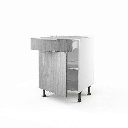 Meuble de cuisine bas d cor aluminium 1 porte 1 tiroir for Meuble aluminium cuisine