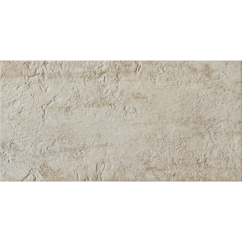 Carrelage mur et sol pierre crème mat l.30 x L.60 cm, Vestige