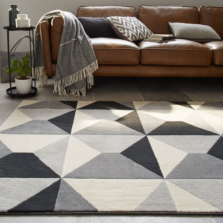 tapis gris velours l120 x l170 cm - Tapis Gris