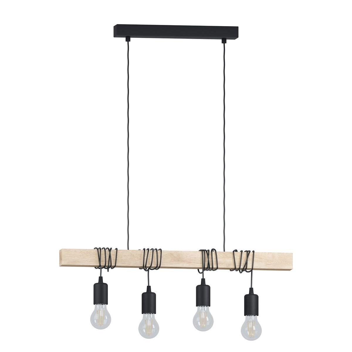suspension e27 design townshend bois noir 4 x 60 w eglo leroy merlin. Black Bedroom Furniture Sets. Home Design Ideas