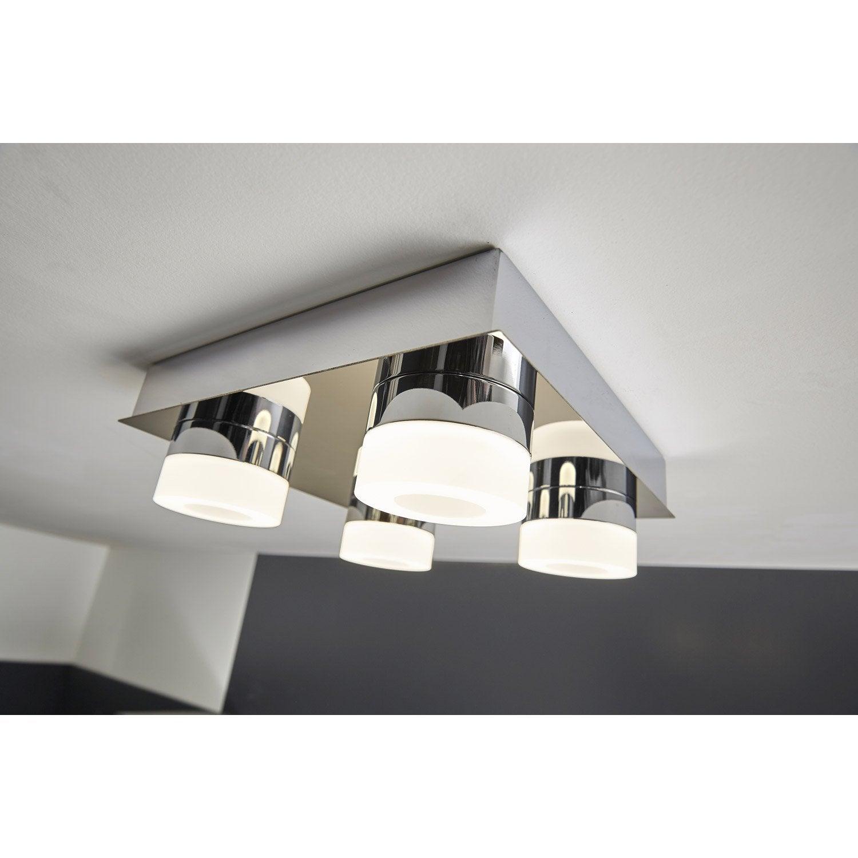 Elegant Plafonnier 4 Spots Design Led Intégrée Icaria Gris, 4 X 4 W INSPIRE