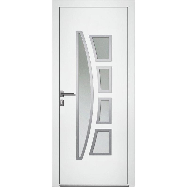 Porte Dentrée Alu Riwa Essentiel H215 X L90 Cm Vitrée Blanc Poussant Droit