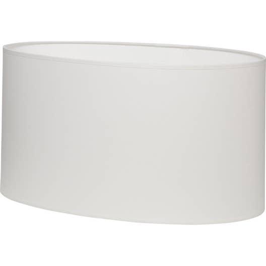 Abat-jour Ovale, 46 cm, coton, blanc-blanc n°0 INSPIRE | Leroy Merlin