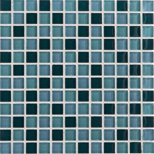 Mosaïque mur Glass mix bleu atoll n°5 2.3 x 2.3 cm   Leroy Merlin