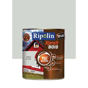 Peinture bois extérieur / intérieur Xpro 3 RIPOLIN, gris clair, 2.5 l