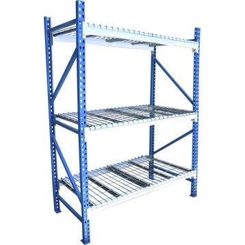 Rack acier rack, 3 tablettes, bleu et blanc l.120 x H.180 x P.60 cm