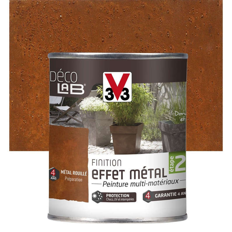 Peinture de finition effet métal extérieur Déco V33, métal rouillé, 0.25 l