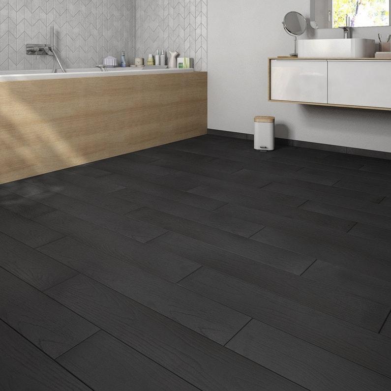 Carrelage sol noir effet bois Colorata l.15 x L.90 cm | Leroy Merlin