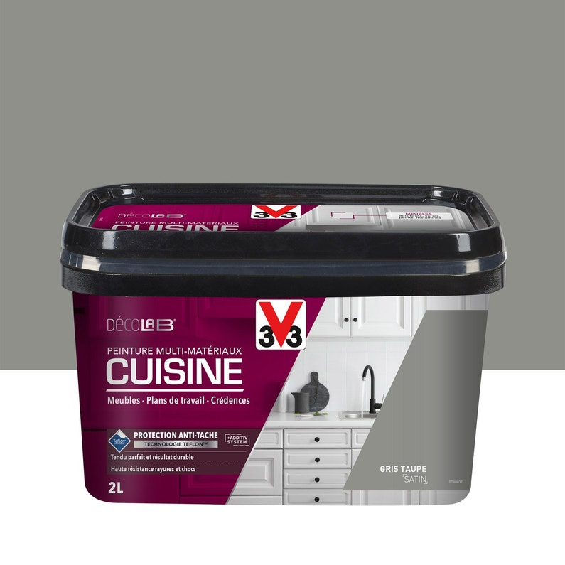 Peinture Cuisine Meubles Crédences V33 Gris Taupe 2 L Satin