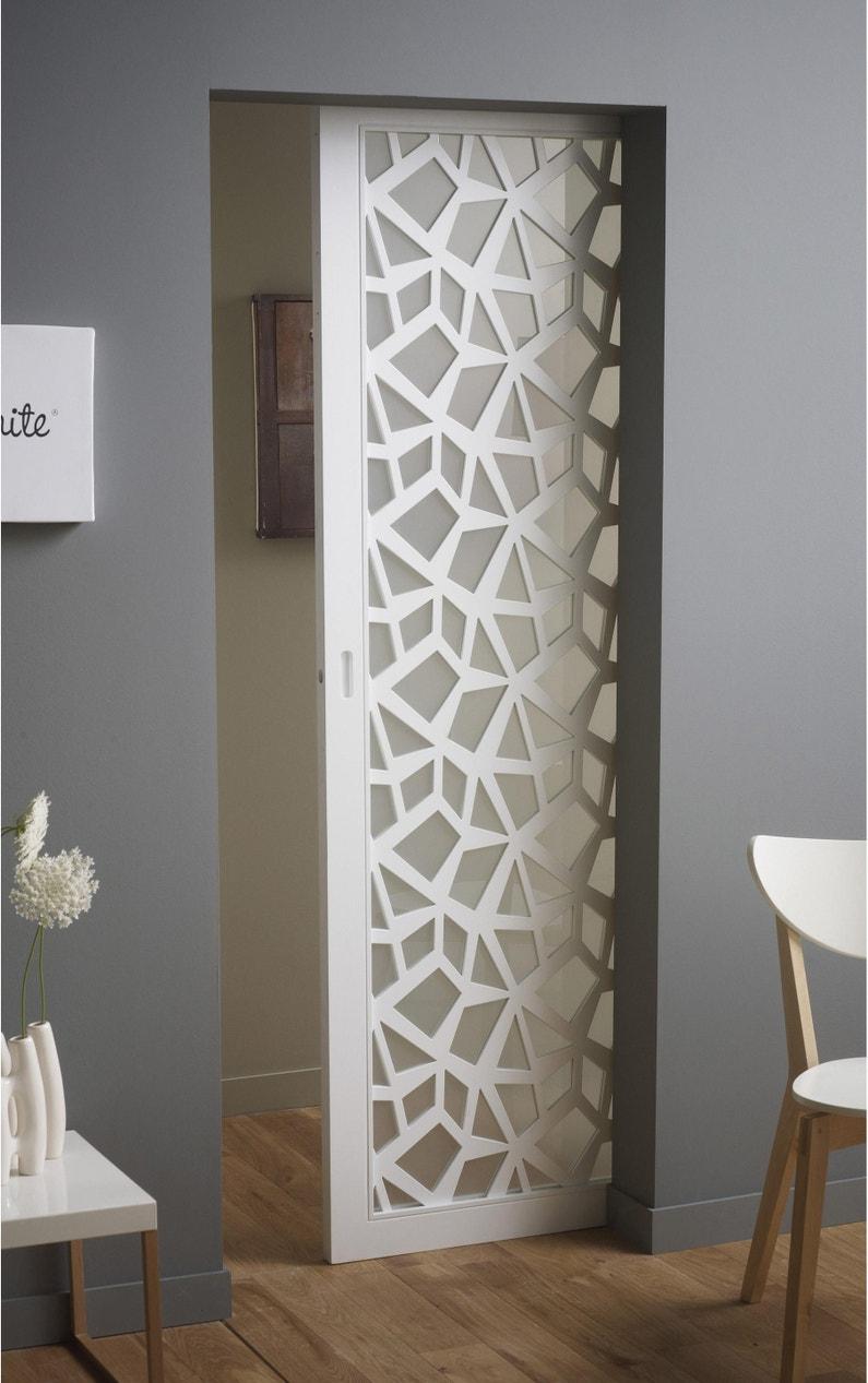 Portes Coulissantes Vitrées Intérieures porte coulissante verre vitrée crash blanc, h.204 x l.83 cm
