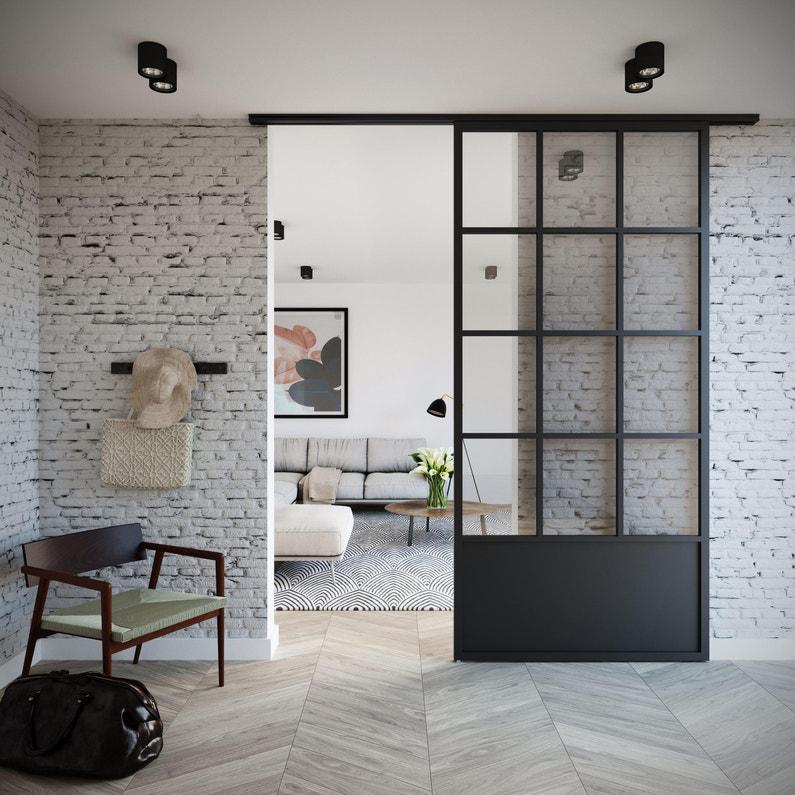 Porte Coulissante Atelier Vitrée Monnet Noir H260 X L123 Cm