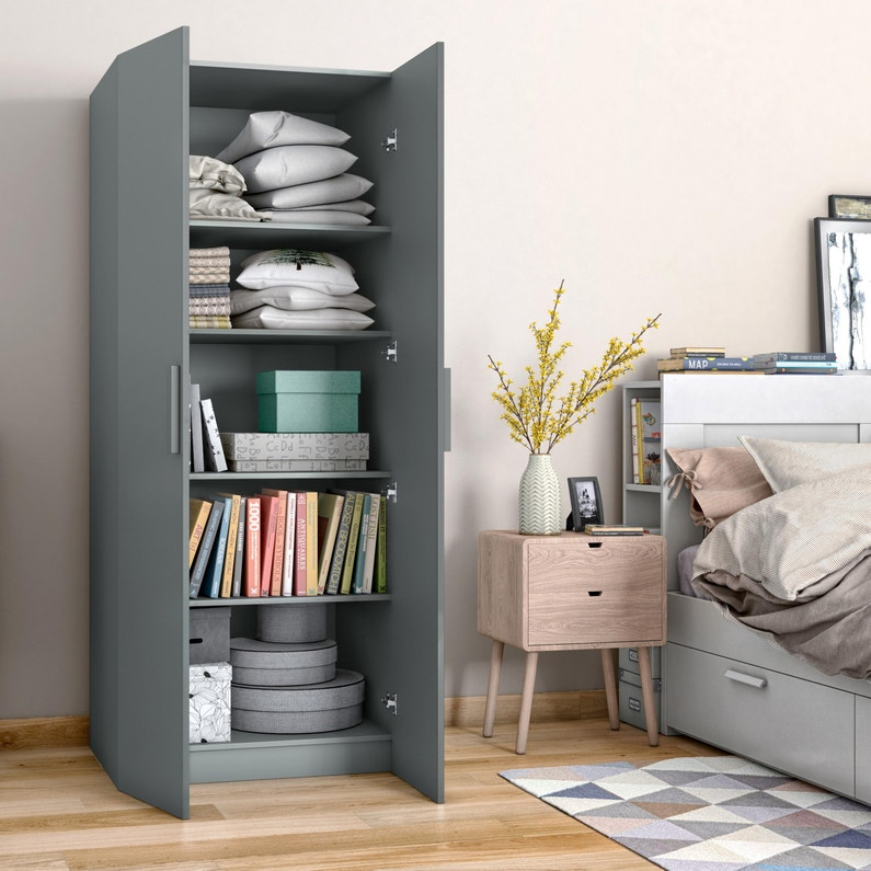Armoire Spaceo Home Gris H 200 X L 60 X P 60 Cm Leroy Merlin