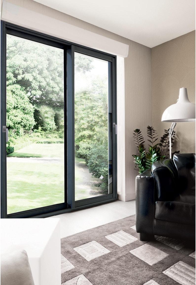 Rideaux Baie Vitrée Coulissante baie vitrée aluminium avec volet roulant brico premium, h.215 x l.180 cm,  gris