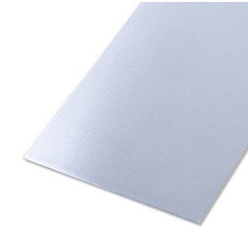 Tôle lisse aluminium brut, L.100 x l.60 cm x Ep.0.8 mm