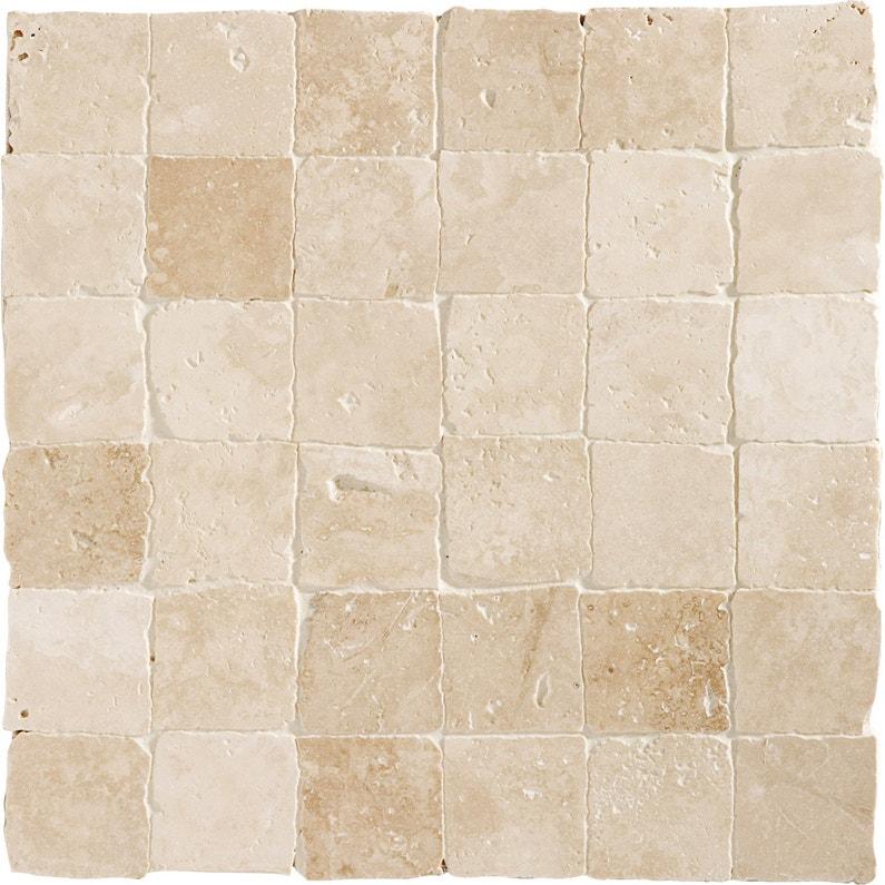 Mosaïque sol et mur Mineral travertin ivoire 4.8 x 4.8 cm | Leroy Merlin