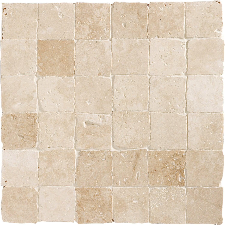 Mosaïque Sol Et Mur Mineral Travertin Ivoire 4.8 X 4.8 Cm ...