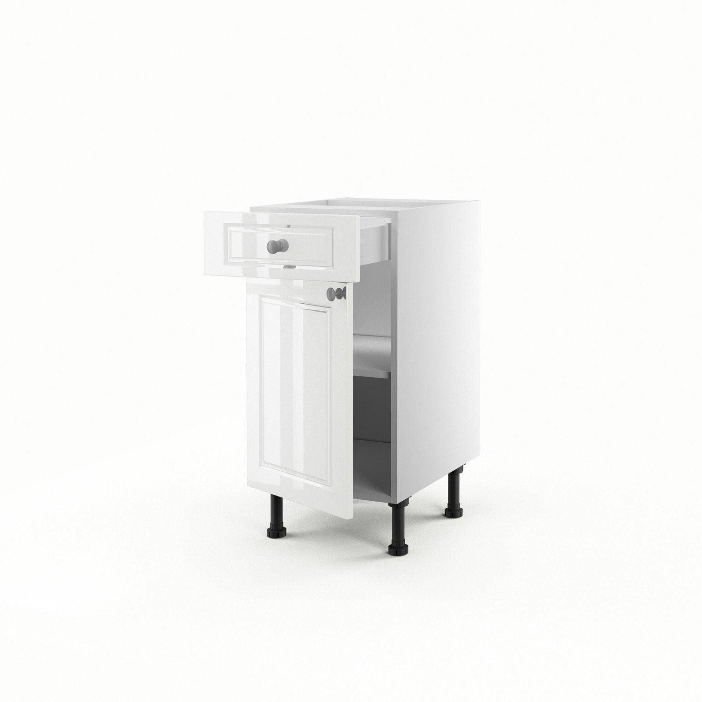 Meuble de cuisine bas blanc 1 porte 1 tiroir chelsea h for Porte largeur 70