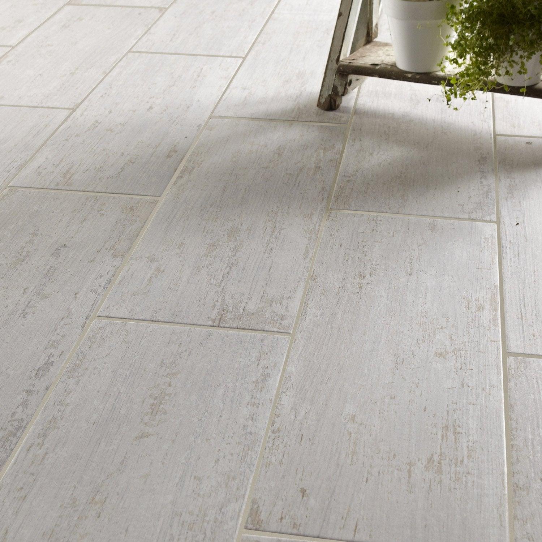 Carrelage sol et mur blanc effet bois cuba x for Carrelage blanc rectangulaire