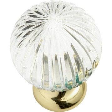 Boule de rampe Cristal verre et laiton brillant