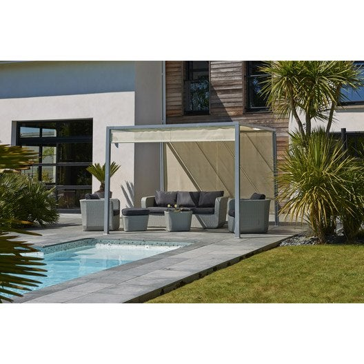 tonnelle autoportante venezia acier et aluminium gris 9 m leroy merlin. Black Bedroom Furniture Sets. Home Design Ideas