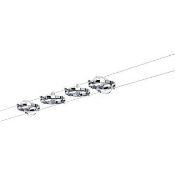 Kit complet câble gu5.3 Cardan métal Chrome / Chrome mat, 4 PAULMANN