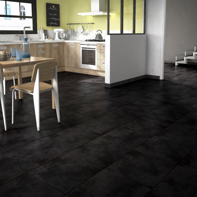 Carrelage sol noir effet béton Toron l.45 x L.45 cm