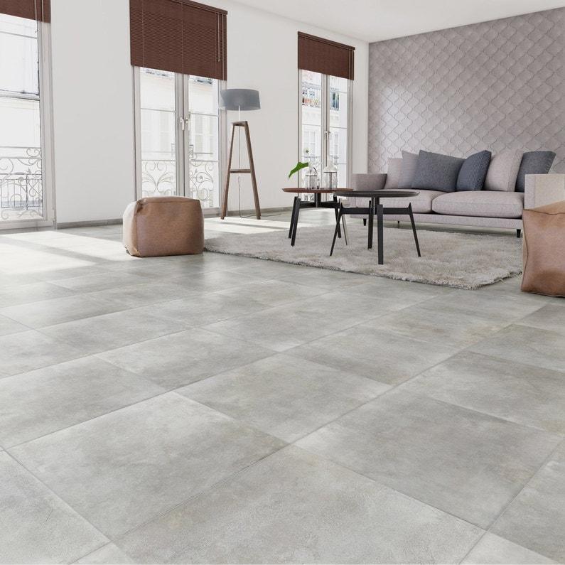 Carrelage sol et mur forte effet béton gris clair Laiton l.60.4 x L.60.4 cm