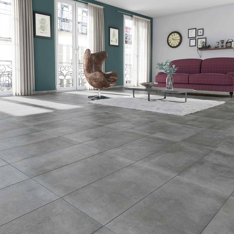 Carrelage sol et mur anthracite effet b ton new cottage l for Carrelage 45x45 leroy merlin