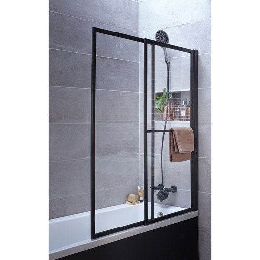pare baignoire 2 volets pivotant coulissant 140 x 123cm verre transparent lift leroy merlin. Black Bedroom Furniture Sets. Home Design Ideas