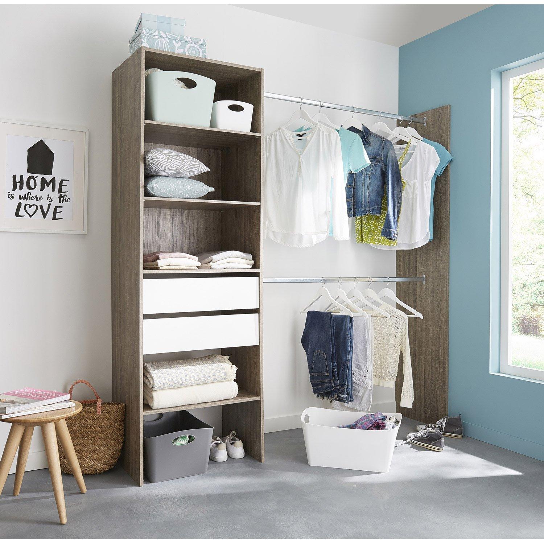 kit dressing effet ch ne havane smart x x cm x p de la j leroy merlin. Black Bedroom Furniture Sets. Home Design Ideas