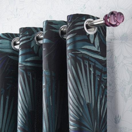 Des doubles rideaux type Jungle au ton bleu canard