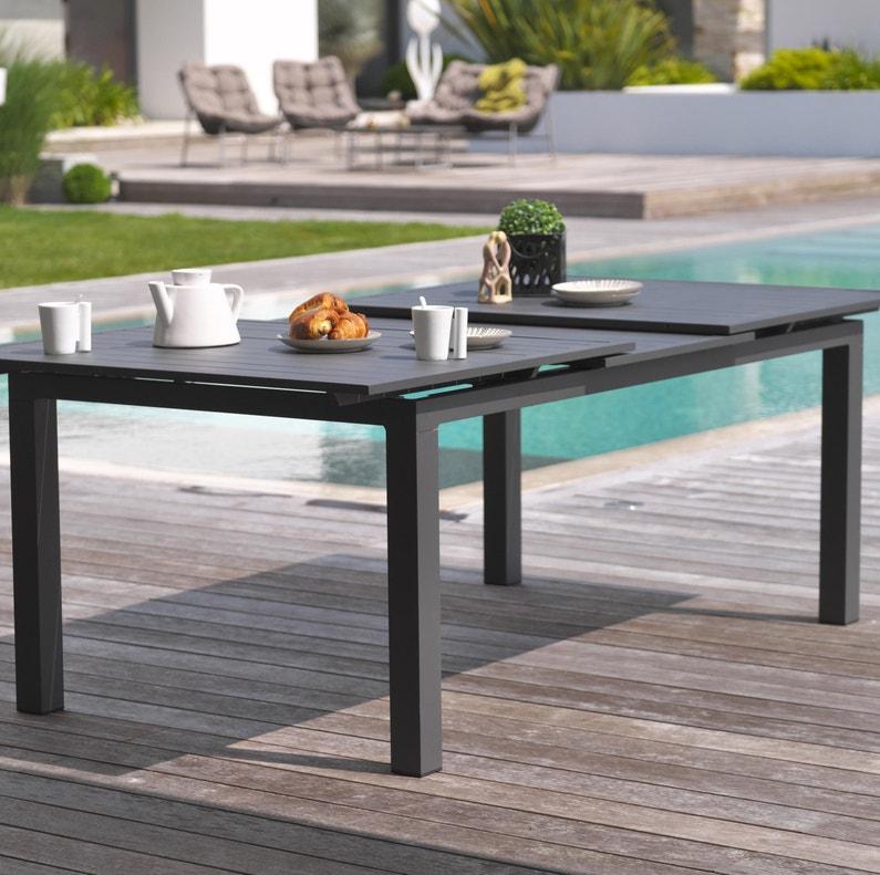 Table de jardin de repas Miami rectangulaire gris anthracite de 6 à 10  personnes