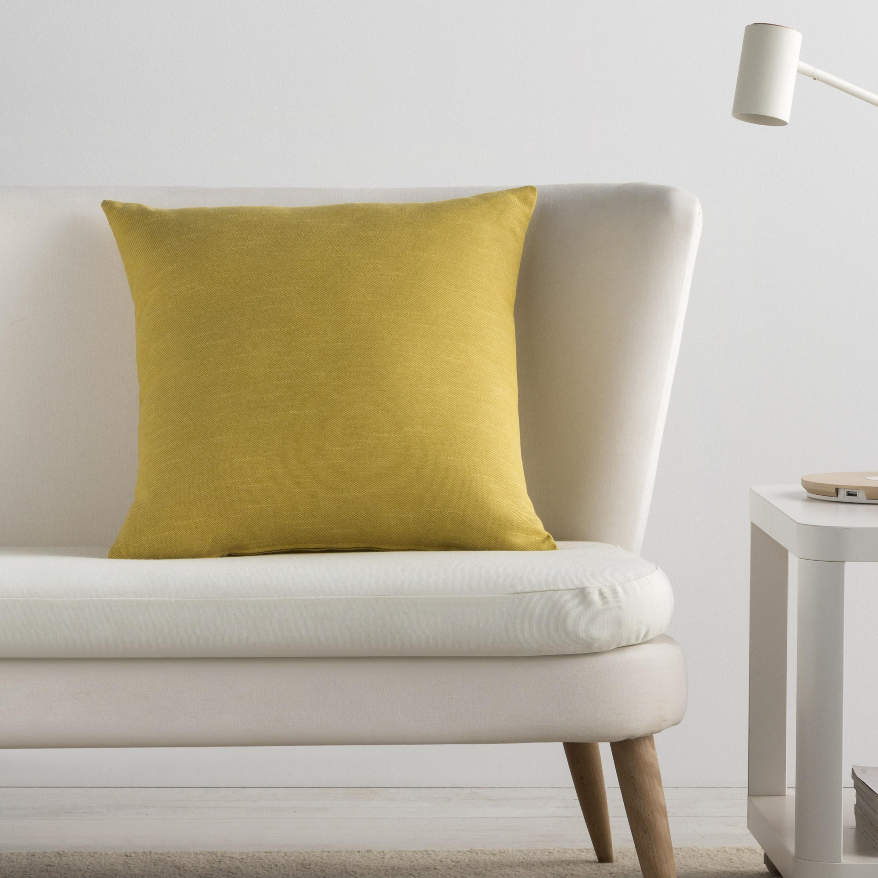 Housse de coussin Indigo, jaune l.50 x H.50 cm