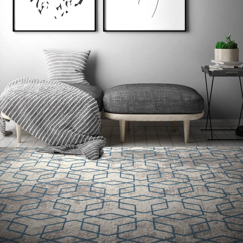 tapis gris rectangulaire l200 x l290 cm soho 1 écru