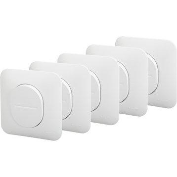 Lot de 5 interrupteurs va-et-vient Ovalis, blanc, SCHNEIDER ELECTRIC