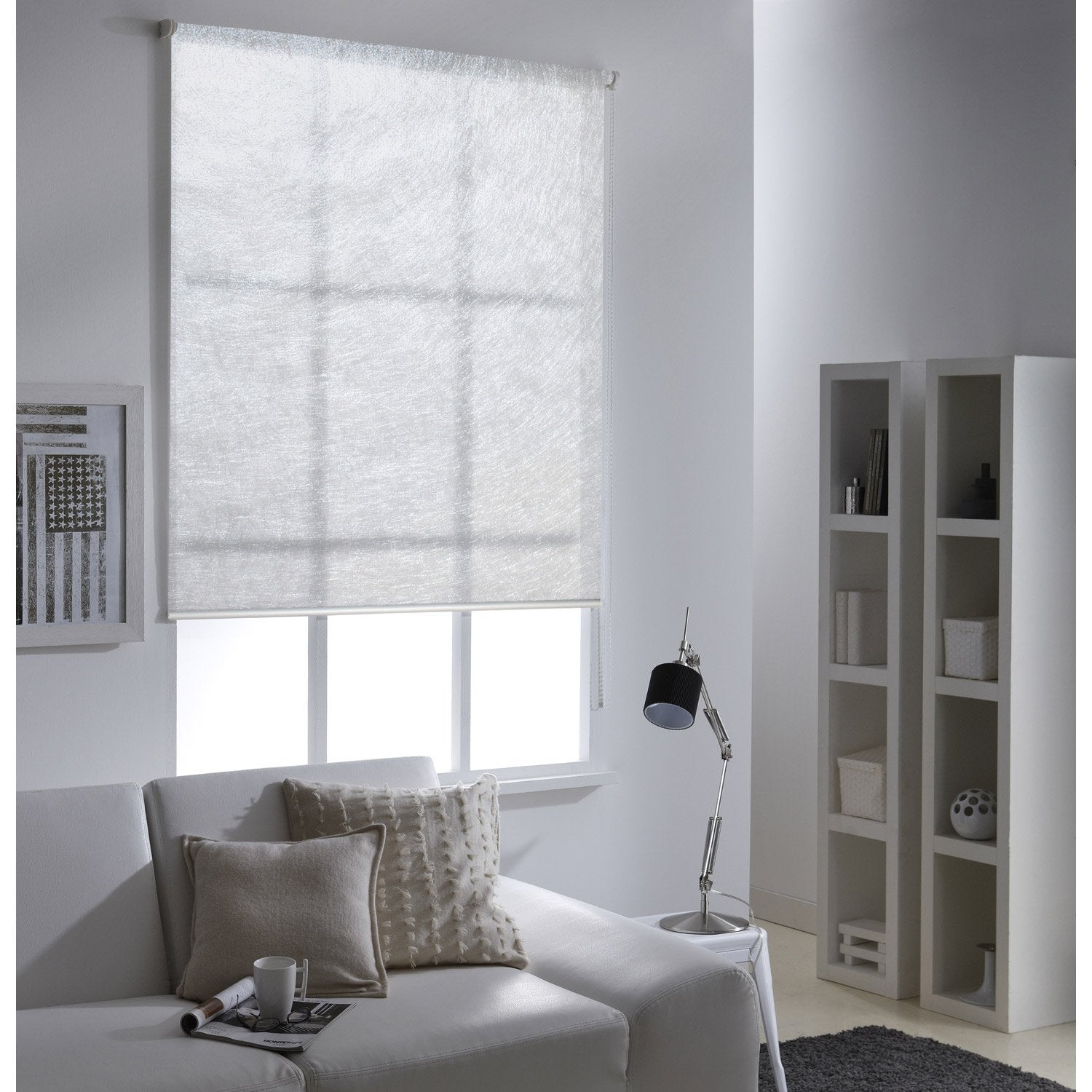 store enrouleur tamisant frost blanc 155x190 cm leroy merlin. Black Bedroom Furniture Sets. Home Design Ideas