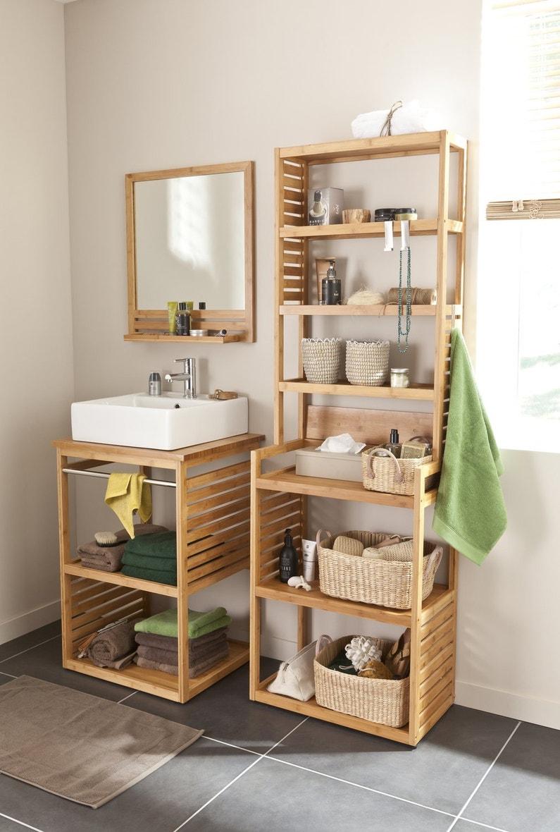 Total look bois pour le meuble de salle de bains la - Colonne salle de bain bambou ...