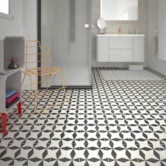 carrelage sol et mur noir blanc aspect carreau de ciment d ment x cm leroy merlin. Black Bedroom Furniture Sets. Home Design Ideas
