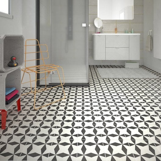Carrelage sol et mur noir blanc effet ciment d ment x cm leroy me - Carrelage ciment noir et blanc ...
