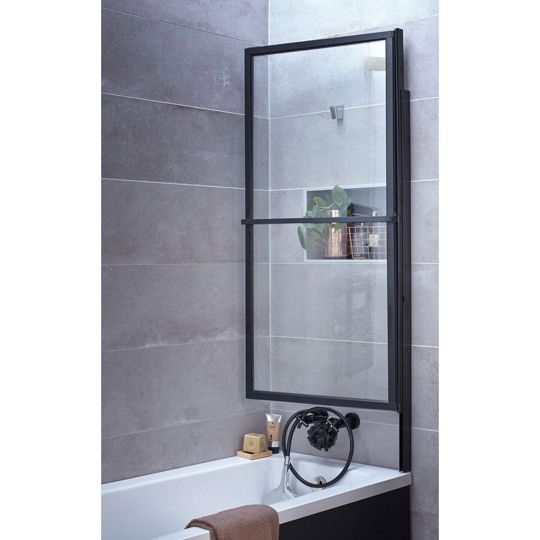 Pare baignoire 2 volets pivotant coulissant 140 x 123cm verre transparent lift leroy merlin - Pare baignoire relevable ...