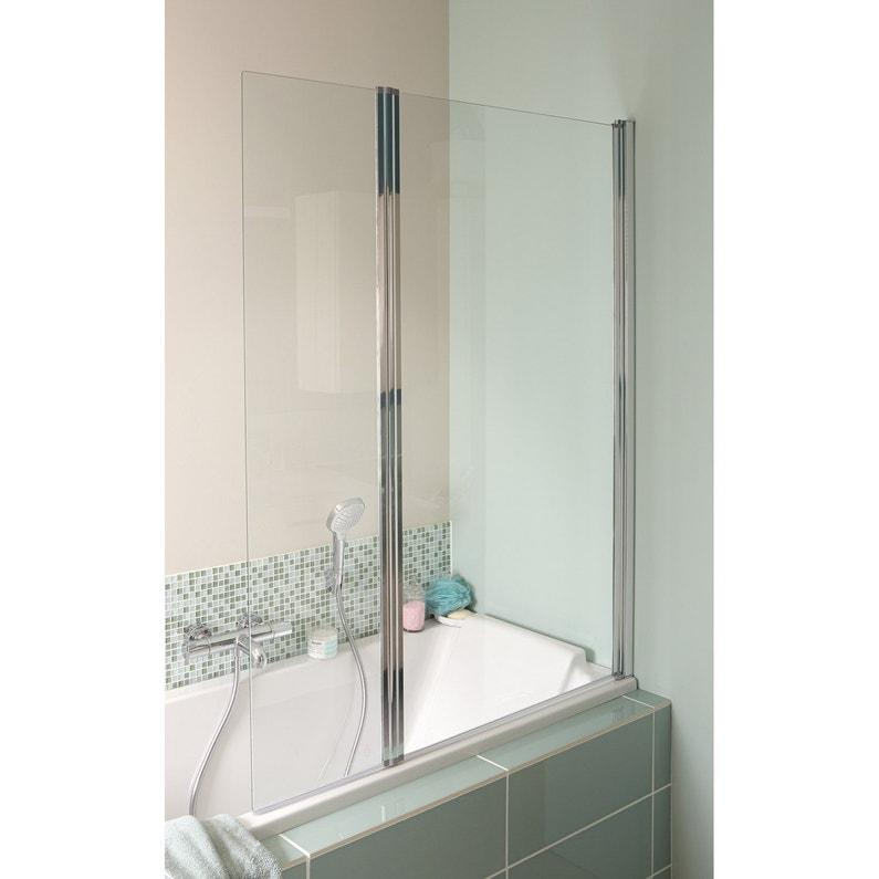 Pare-baignoire 2 volets pliant H.140 cmxl.115 cm verre sécurité ...