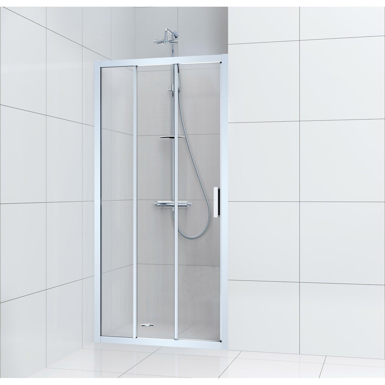 Porte de douche coulissante 100 cm transparent charm leroy merlin - Paroi de douche 100 ...